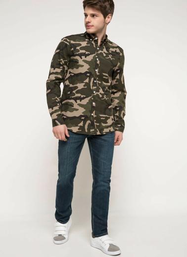DeFacto Slim Fit Baskılı Gömlek Renkli